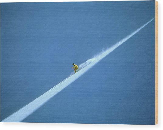 Off-piste Skier On Untouched Snow Field Wood Print