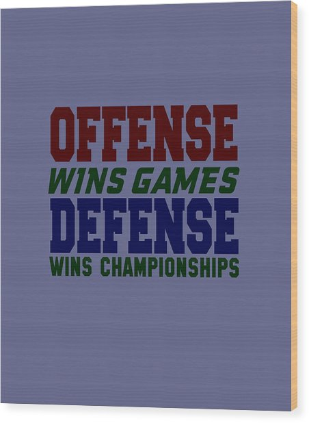 Offence Defense Wood Print