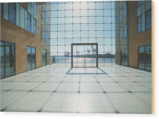 Office Building At Holzhafen 45, Grosse Wood Print by Uwe Steffens