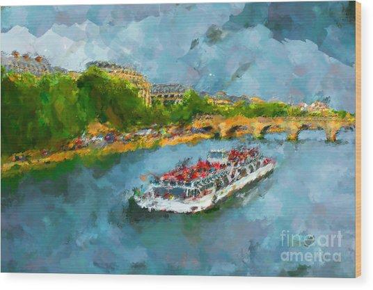 Oil Paint Paris Seine Boat Wood Print