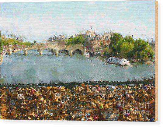 Oil Paint Paris Seine River Wood Print
