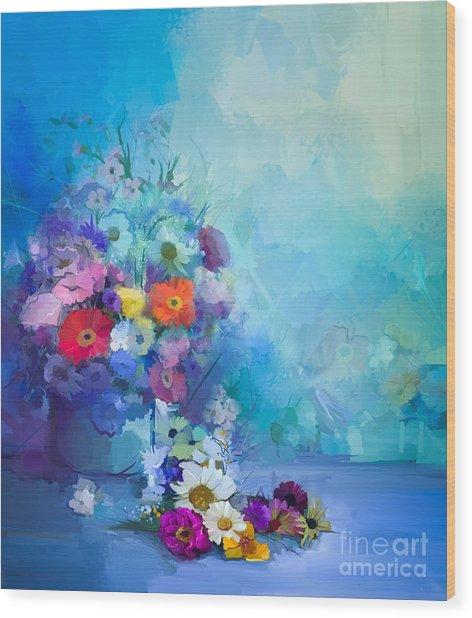 Oil Painting Flowers In Vase. Hand Wood Print
