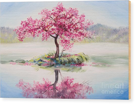 Oil Painting Landscape, Oriental Cherry Wood Print
