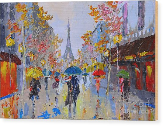 Oil Painting Of Eiffel Tower, France Wood Print