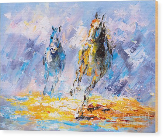 Oil Painting - Running Horse Wood Print