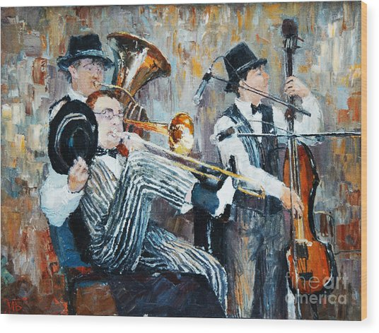 Oil Painting, The Orchestra Plays Wood Print