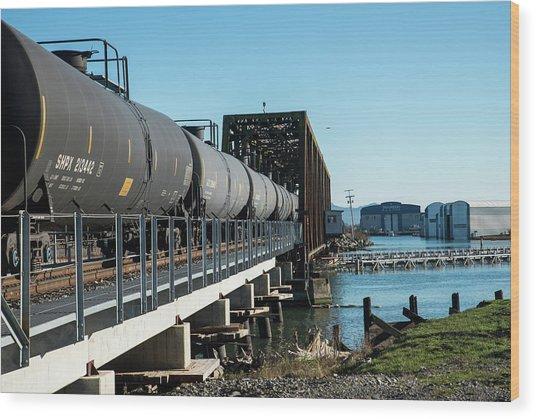 Oil Train Over Swinomish Channel Wood Print