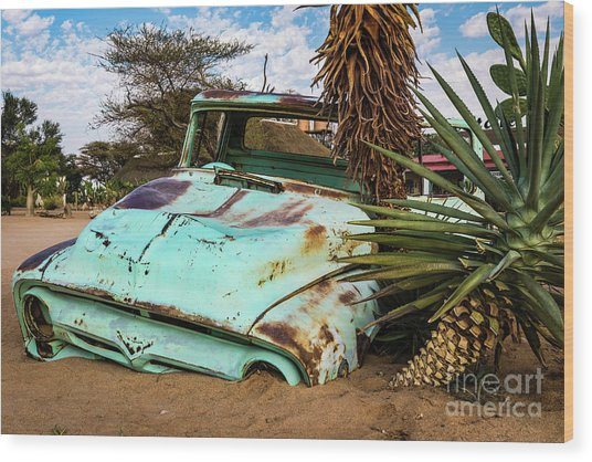 Old And Abandoned Car 2 In Solitaire, Namibia Wood Print