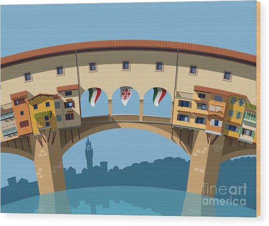 Old Bridge In Florence Flat Illustration Wood Print