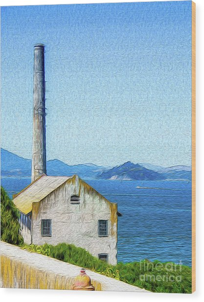 Old Building At Alcatraz Island Prison Wood Print