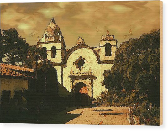 Old Carmel Mission - Watercolor Painting Wood Print