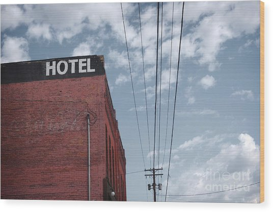 Old Dilapidated Brick Motel With Cloudy Wood Print
