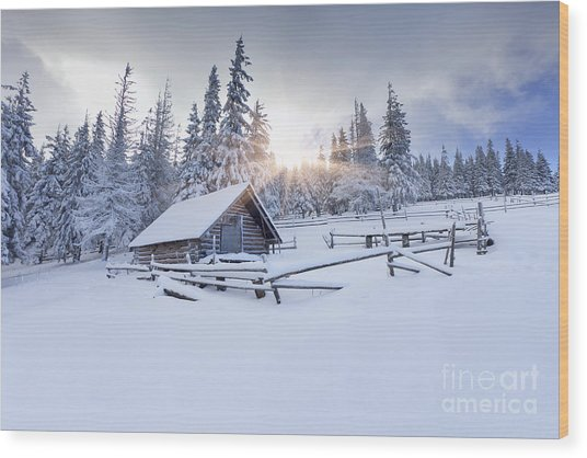 Old Farm In The Mountains At Winter Wood Print