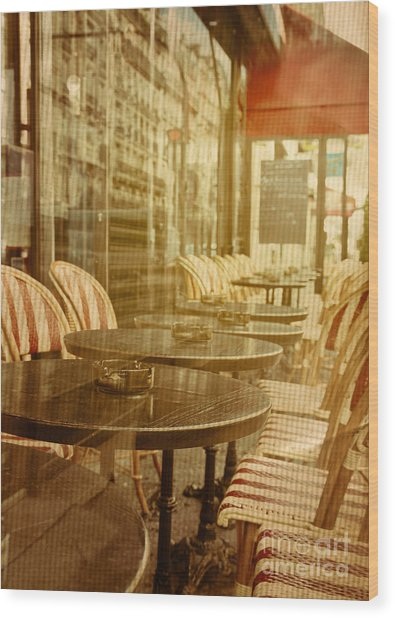 Old-fashioned Coffee Terrace With Wood Print