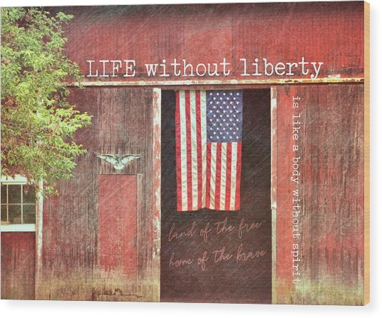 Old Glory Quote Wood Print by JAMART Photography