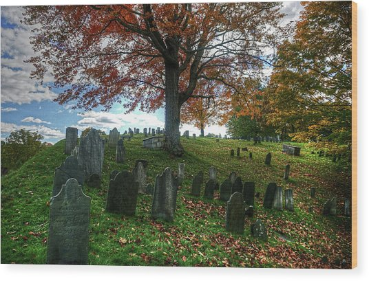 Old Hill Burying Ground In Autumn Wood Print