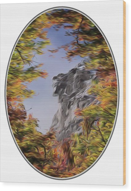 Old Man Oil Paint Transparent Oval Wood Print