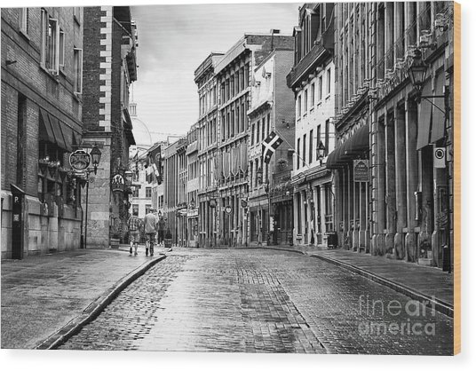 Old Montreal Cobblestone Streets Wood Print