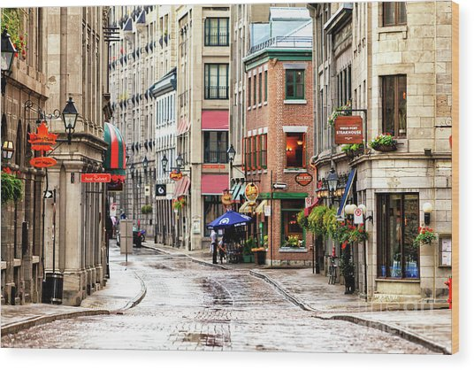 Old Montreal Morning Street Scene 2010 Wood Print
