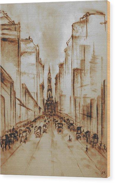 Old Philadelphia City Hall 1920 - Pencil Drawing Wood Print