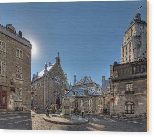 Old Quebec City Square Wood Print