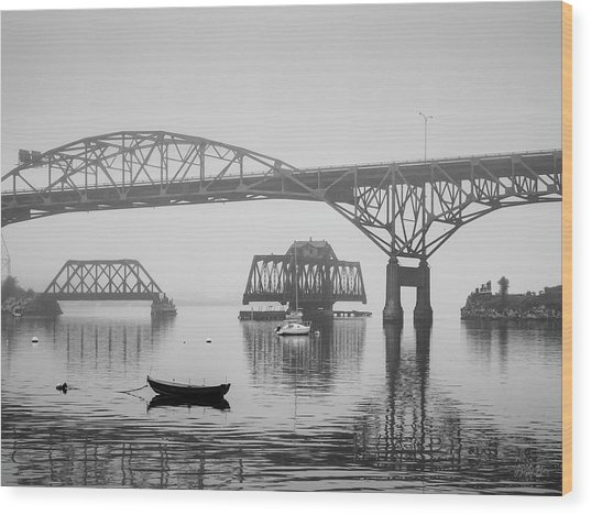 Wood Print featuring the photograph Old Sakonnet River Bridge IIi Bw by David Gordon