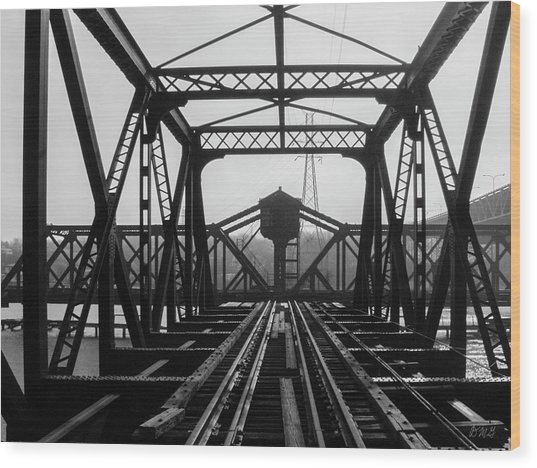 Wood Print featuring the photograph Old Sakonnet River Railroad Bridge Bw by David Gordon