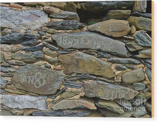 Old Schist Wall With Several Dates From 19th Century. Portugal Wood Print