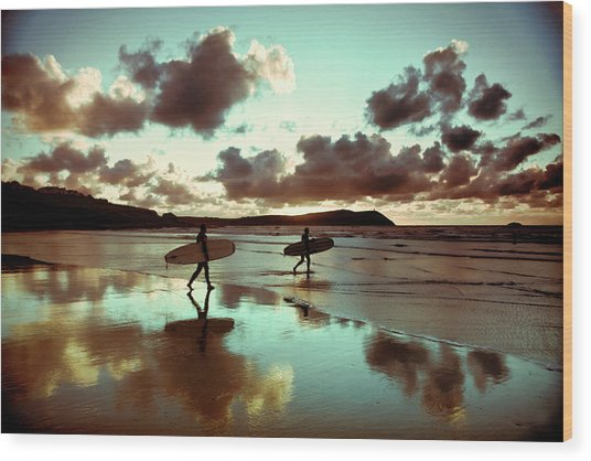 Old Skool Surf Wood Print by Landscapes, Seascapes, Jewellery & Action Photographer