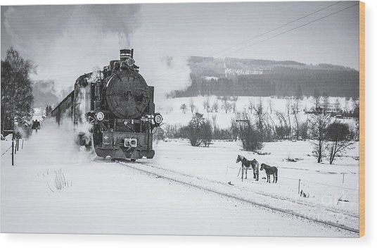 Old Steam Train Puffing Across Winter Wood Print