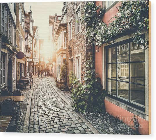 Old Town In Europe At Sunset With Retro Wood Print
