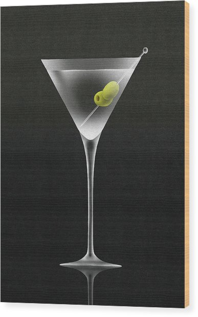Olives In Martini Cocktail Glass Wood Print