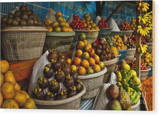 Open Air Fruit Market In The Village Wood Print