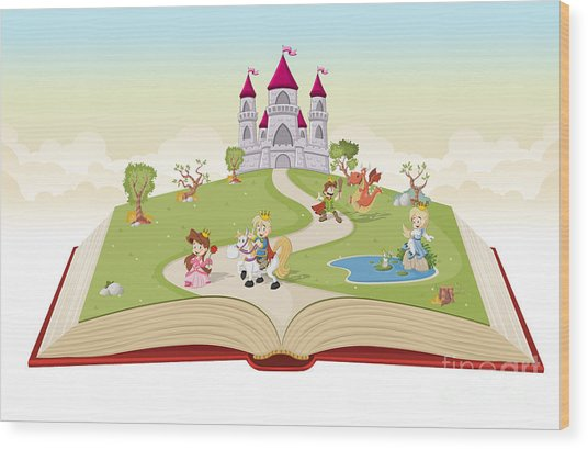 Open Book With Cartoon Princesses And Wood Print