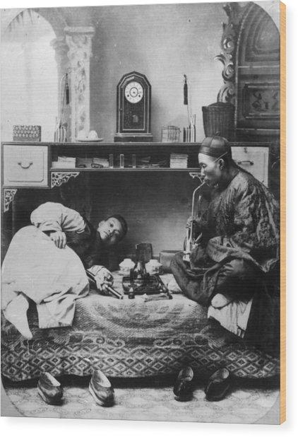 Opium Smokers Wood Print by Hulton Archive