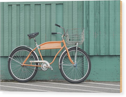Orange Bike Wood Print by Tbd