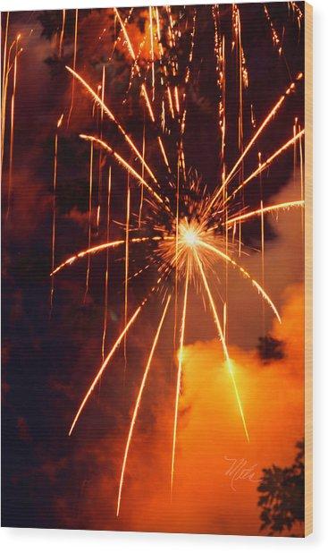 Orange Fireworks Wood Print