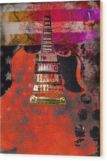 Wood Print featuring the digital art Orange Electric Guitar And American Flag by Guitar Wacky
