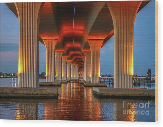 Orange Light Bridge Reflection Wood Print