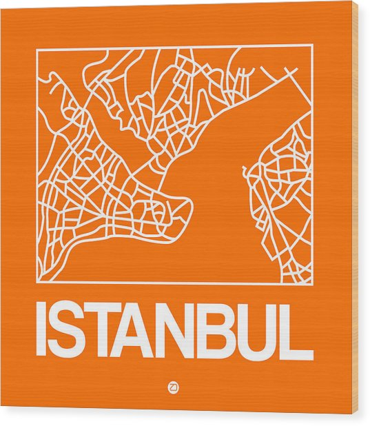Orange Map Of Istanbul Wood Print