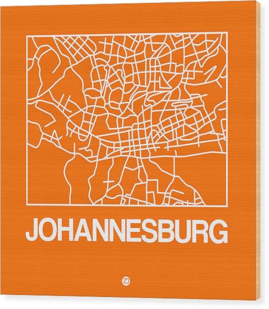 Orange Map Of Johannesburg Wood Print