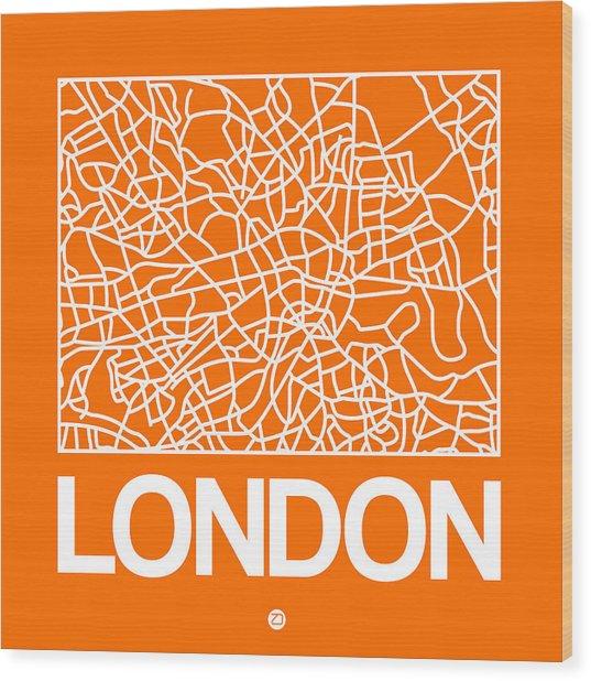 Orange Map Of London Wood Print