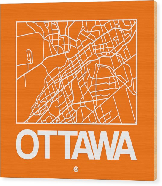 Orange Map Of Ottawa Wood Print