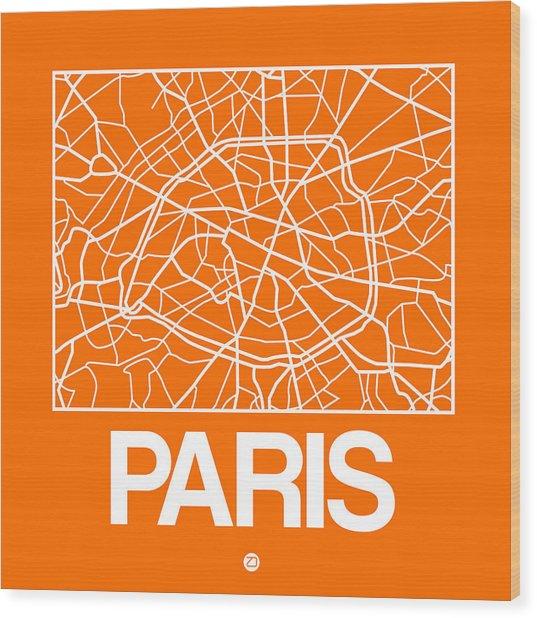 Orange Map Of Paris Wood Print