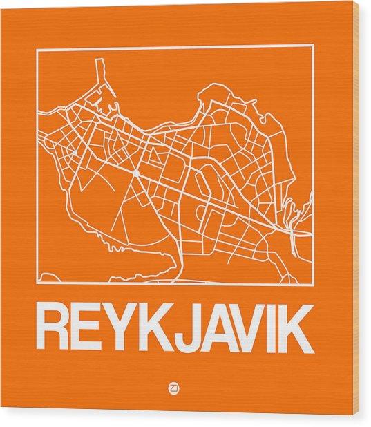 Orange Map Of Reykjavik Wood Print