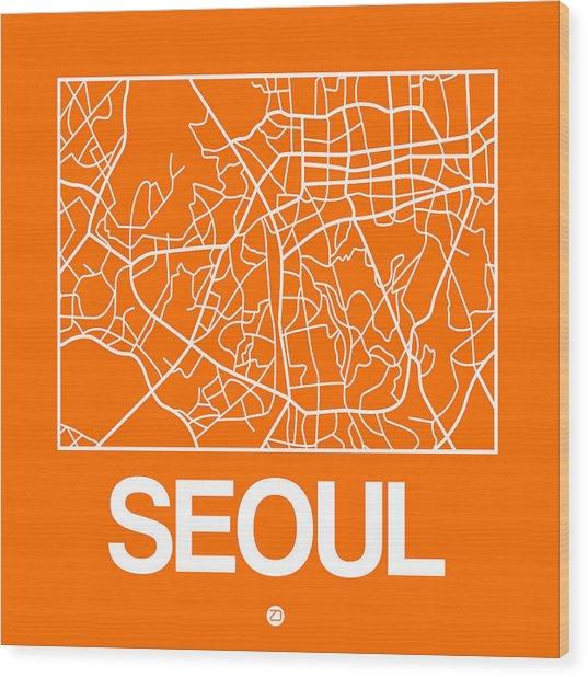 Orange Map Of Sao Paulo Wood Print