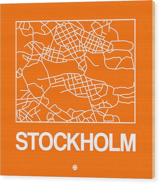 Orange Map Of Stockholm Wood Print