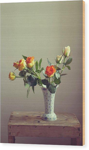 Orange Roses In Vintage Vase Wood Print
