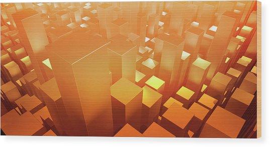 Orange Three Dimensional Rectangular Wood Print by Ralf Hiemisch