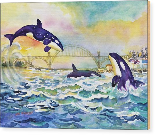 Orcas In Yaquina Bay Wood Print